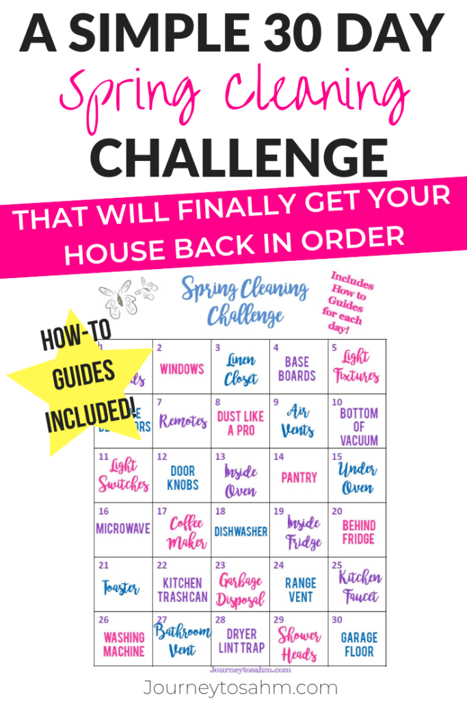 A simple schedule for spring cleaning. Keep your house clean with this free printable checklist calendar. Includes tips and tricks to complete each task easily to get your life, and home, back on track! #springcleaning #cleaningtips #homecleaningtips #30daychallenge #cleaningtricks