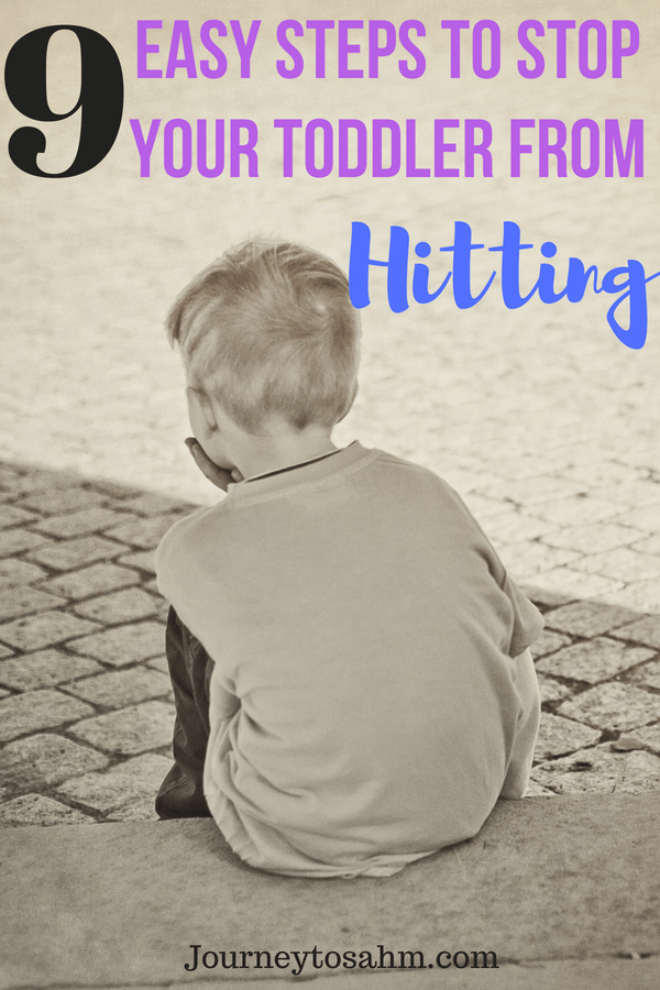 9 easy steps to stop your toddler from hitting. Is your toddler hitting mom? Parenting tips and tricks to get them to stop. Works with toddler biting and throwing too. #momlife #toddlers #parenting