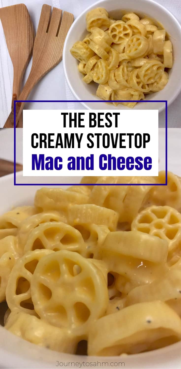 Quick and simple creamy homemade stovetop macaroni and cheese. An easy dinner for the kids with cheddar cheese and no Velveeta. The best recipe for busy moms for a weeknight meal! #macandcheese #macaroniandcheese #dinnerideas #quickrecipe #easydinnerrecipes