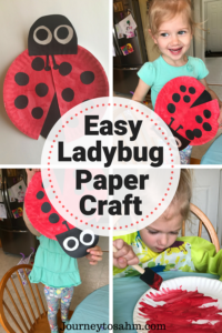 Ladybug Paper Craft. Perfect addition to your toddler crafts of ages 2 and up. Paper plate craft that is so easy to make and they will be so proud of their work. Ladybug crafts for all kids. Ladybug paper plate crafts for kids DIY. #kids #DIY #parenting #crafts #papercrafts