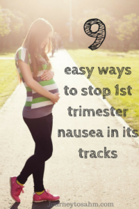 9 easy ways to stop first trimester nausea in its tracks. Useful tips and tricks for all day morning sickness remedies . Being pregnant doesn't have to be tough. Make it the best possible with these pregnancy nausea relief ideas and remedies. #pregnancyproblems #pregnancy #baby #parenting #familygoals.