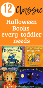 12 classic Halloween books every toddler needs this holiday. Educate your toddler for Halloween time with these Halloween books for kids. Learn about costumes, trick-or-treating, and carving pumpkins with these must-have Halloween books for toddlers. #holidays #halloween #fall #books #toddlers #momlife