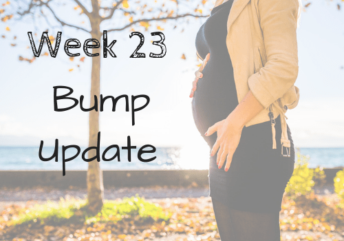 It's pregnancy week 23! The baby is the size of a grapefruit and growing bigger each day. Follow my weekly bump progression pics and weekly bump pictures on this pregnancy journey. Includes my pregnancy cravings and pregnancy symptoms during this second trimester. #mommytobe #babybump