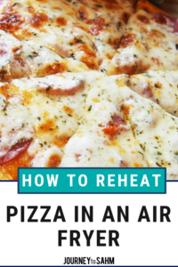 The best way to reheat pizza in an air fryer. Use an air fryer machine to keep your pizza crust crispy, but as healthy as pizza comes. Site includes air delicious air fryer recipes! #foodie #healthyfood #foodlover