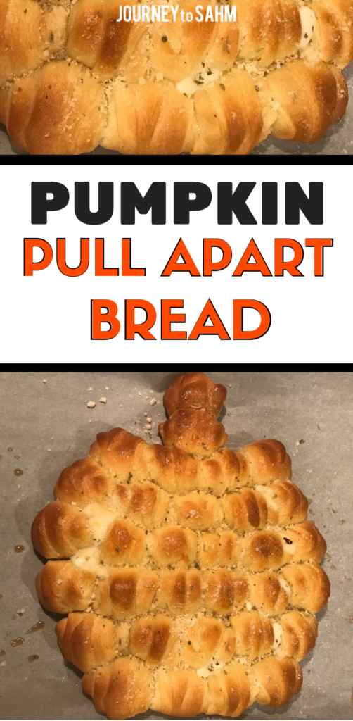 Delicious Cheesy Pumpkin Pull Apart Bread pizza recipe. Perfect side dish for Halloween, Thanksgiving, and any busy weeknight. This is a 30 minute meal for busy moms and perfect for toddlers and kids to eat. Made with Pillsbury crescent rolls and perfect for a Thanksgiving appetizer or bread side dish this holiday season. #holidayrecipes #foodie #dinnerideas #dinnerrecipes #foodblogger