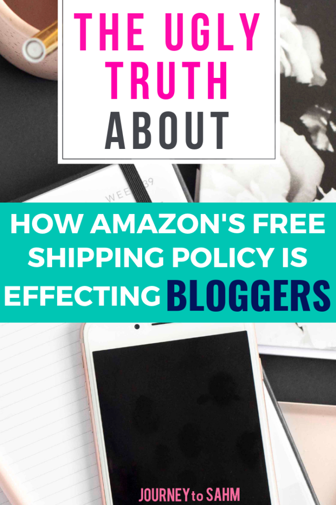 The ugly truth about how Amazon's holiday shipping policy is effecting bloggers in 2018. Learn how to optimize your posts for the Amazon affiliate program to reach more people on Pinterest and make money online. Tips and tricks to use the Amazon free shipping technique to your advantage and make more Amazon sales on your website and niche. #blogging #bloggingtips #bloggerlife #parentingblog #momblog