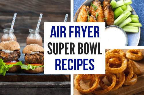 Healthy Super Bowl snacks and appetizer recipes. Easy to make for the big game with homemade crispy chicken wings, onion rings, donuts, and more. #superbowlparty #superbowlfood #airfryerrecipes #foodrecipes #foodblog