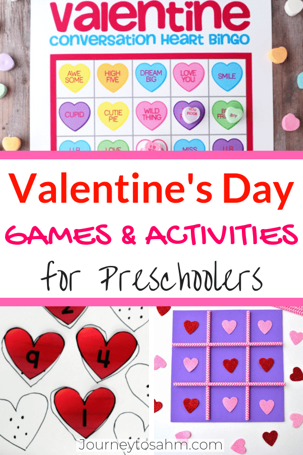 Preschool Valetine's Day games and activities. Perfect for toddlers, kindergartners, and preschoolers in the classroom. Includes BINGO, minute to win it, and tic tac toe with free printables! #gamesforkids #toddleractivities #valentinesdayactivities #preschoolers #activitiesforkids #preschoolactivities