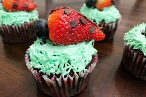 Spring Strawberry Ladybug Cupcakes