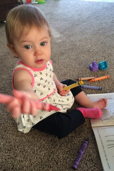 One Year Old Coloring in Book Activity