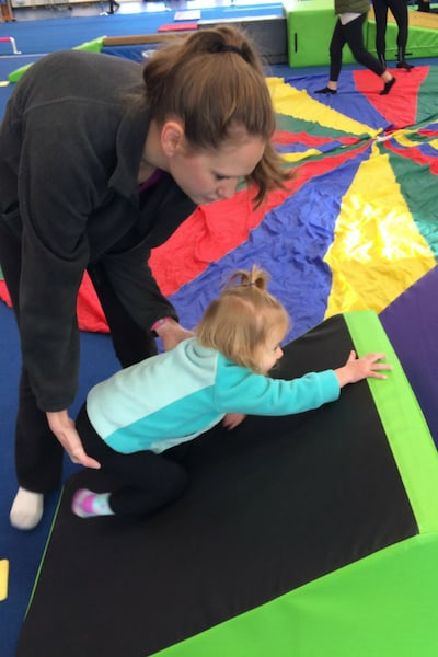 One Year Old in Toddler Gymnastics with Mom