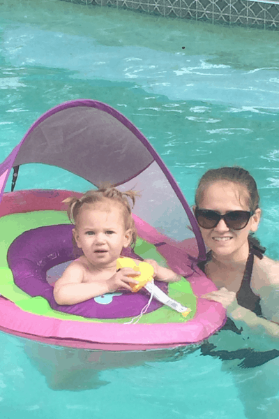 One Year Old Swimming in Pool with Mom