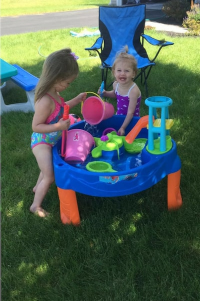 Fun Toddler Playing with Water Table Activity