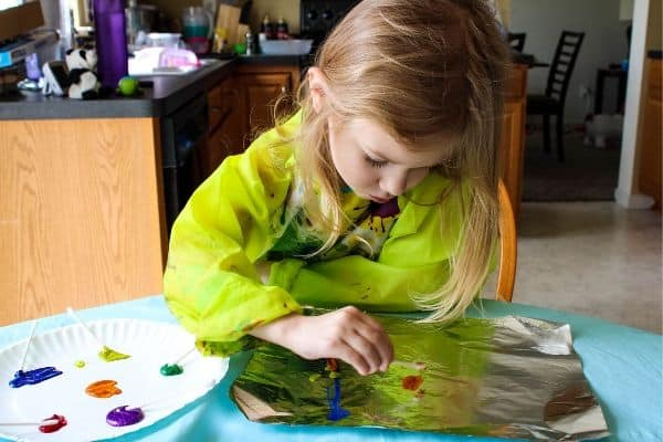 Painting to Make Sensory Art with Aluminum Foil