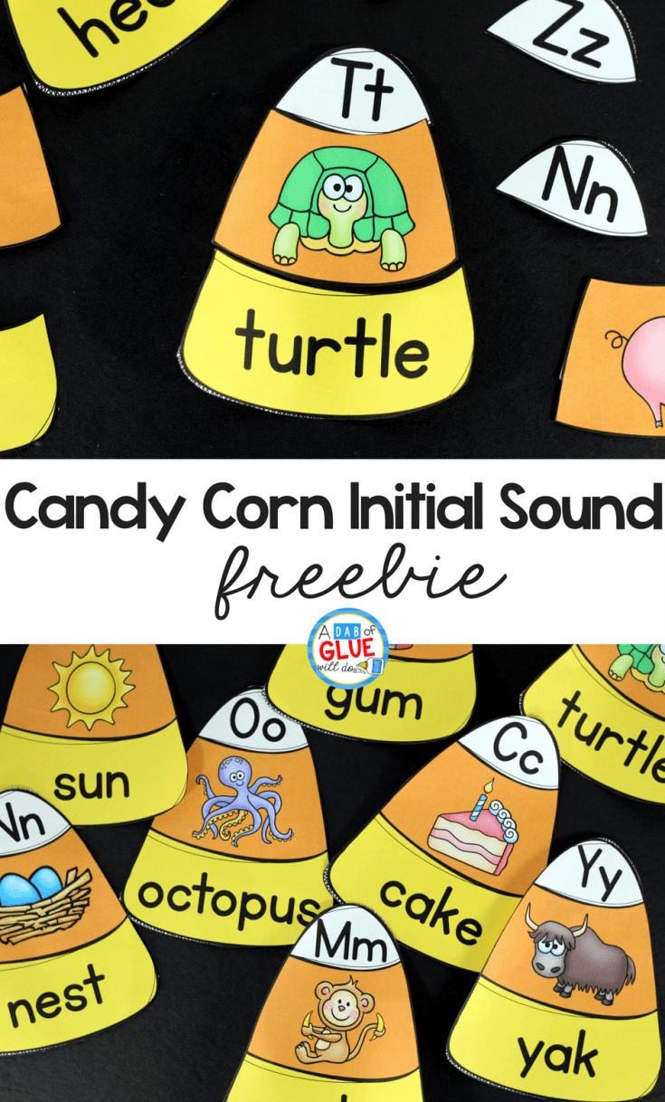 Candy Corn Initial Sound Puzzles - A Dab of Glue Will Do