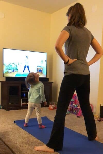 Mom Excercising with Toddler