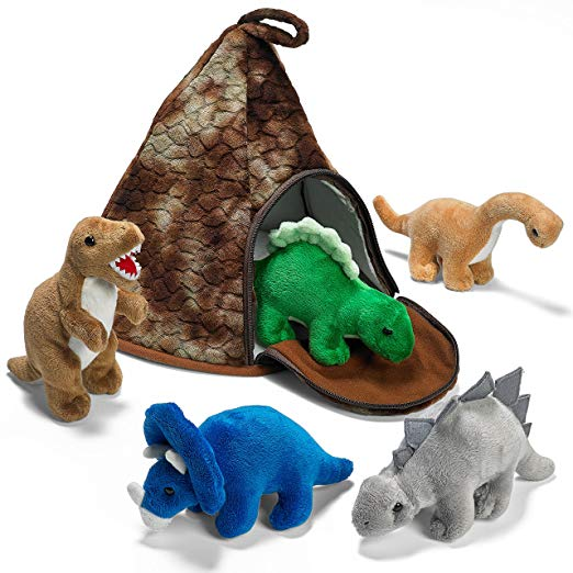 Prextex Dinosaur Volcano House with 5 Plush Dinosaurs