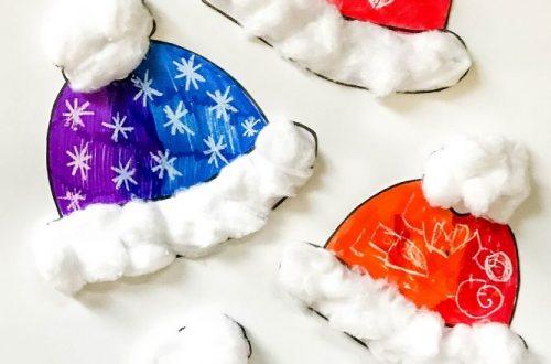 winter hat craft with cotton balls