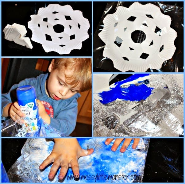 No Mess Paper Plate Snowflakes