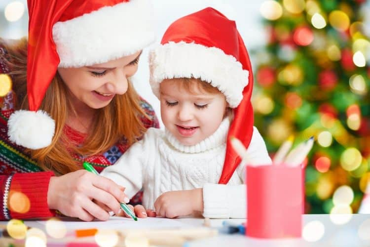 Mom and Child Writing Santa Letter