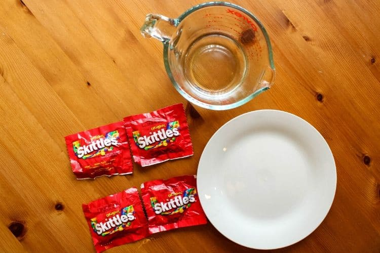 Skittles, Water, and a Plate