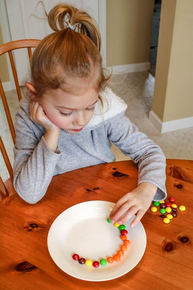 Girl placing Skittles on a plate