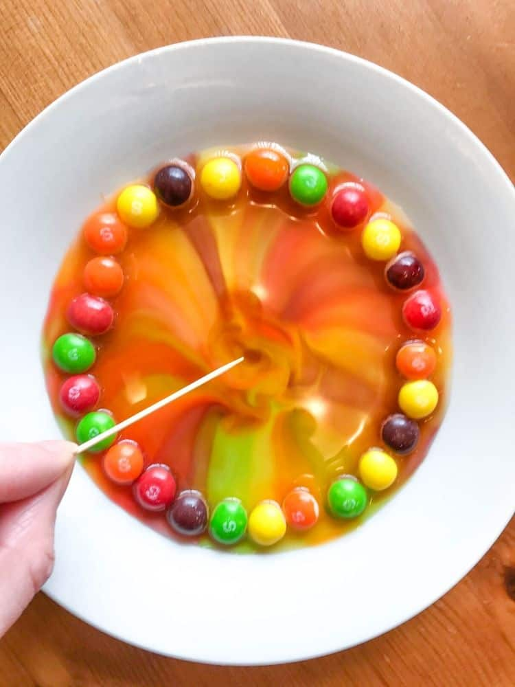 Toothpick inside Skittles blended in water