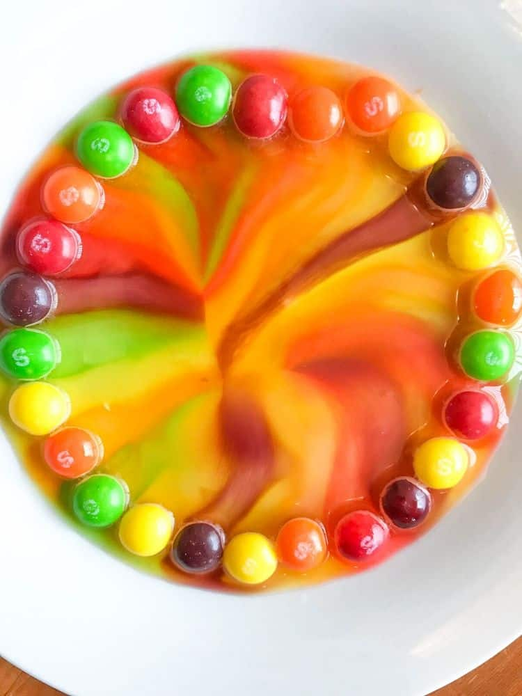 Skittles All Blended in Water in Circle