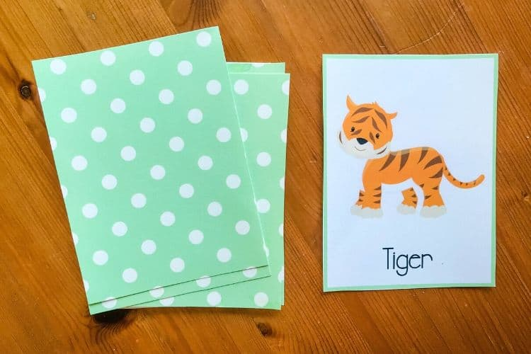 Tiger Charades Card and Face Down Cards