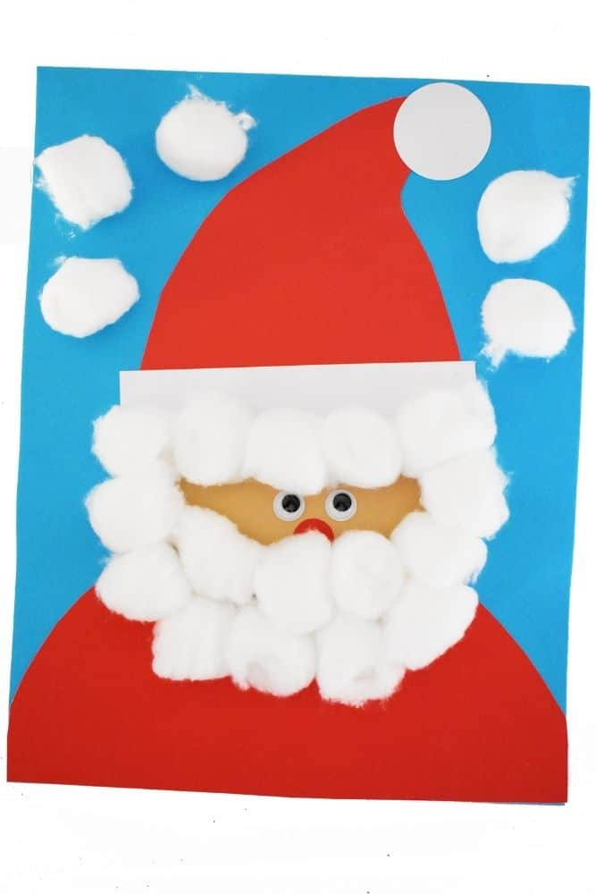 Santa Claus Craft For Toddlers with Cotton Balls