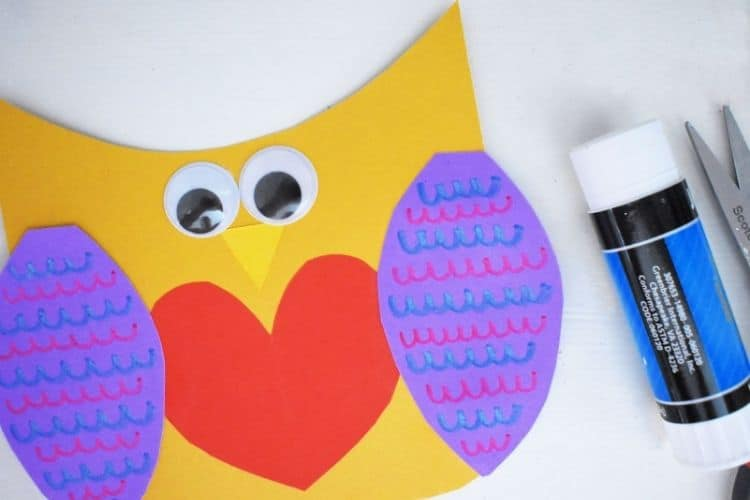 Valentine Owl next to a glue stick