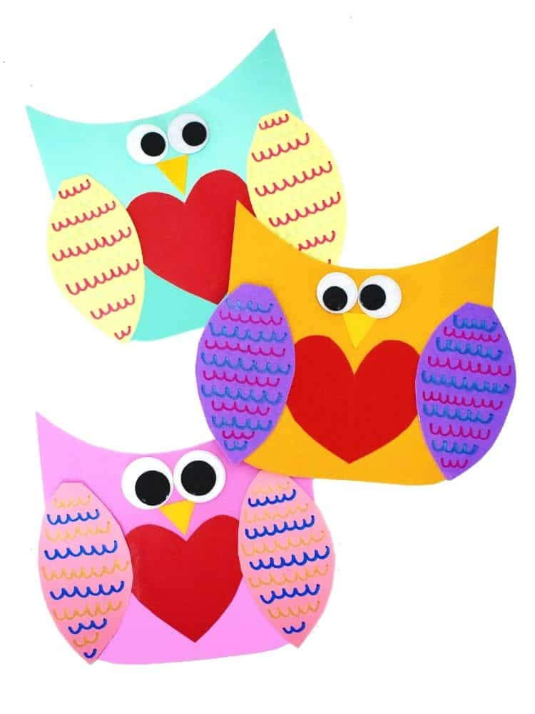 Three Valentine Owl Crafts completed in a column