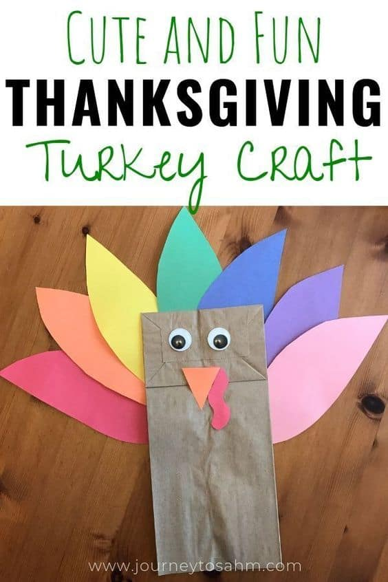 Paper Bag Turkey Craft for Thanksgiving